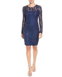Sequin Hearts Long Sleeve Sequin Lace Sheath Dress