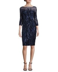 David Meister Sequin Illusion Sheath Dress
