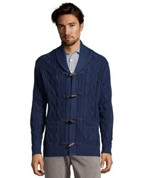 Jachs Blue Cotton Cable Knit Toggle Front Shawl Collar Cardigan