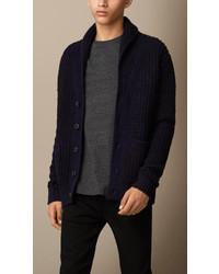 Burberry Brit Wool Cashmere Shawl Collar Cardigan