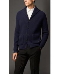 Burberry Wool Cashmere Shawl Collar Cardigan