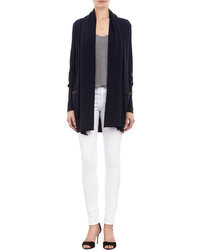 Barneys New York Leather Trim Drape Front Cardigan