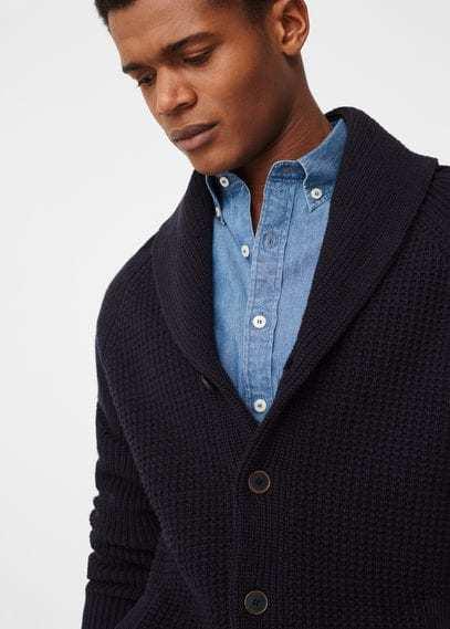 104accb97993 Mango Man Shawl Collar Cotton Cardigan