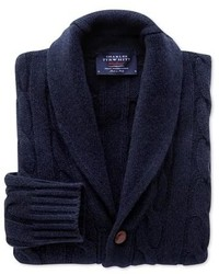 Charles Tyrwhitt Navy Marl Shawl Collar Cable Cardigan