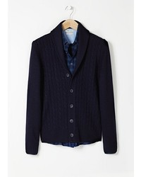 Mango Outlet Cable Knit Wool Cardigan