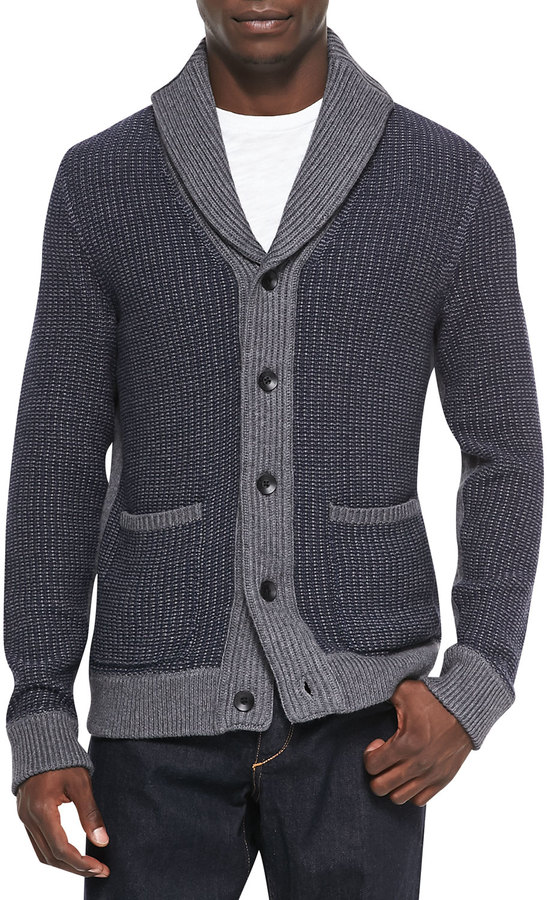 Rag and Bone Rag Bone Asher Ribbed Shawl Cardigan Navy | Where to ...