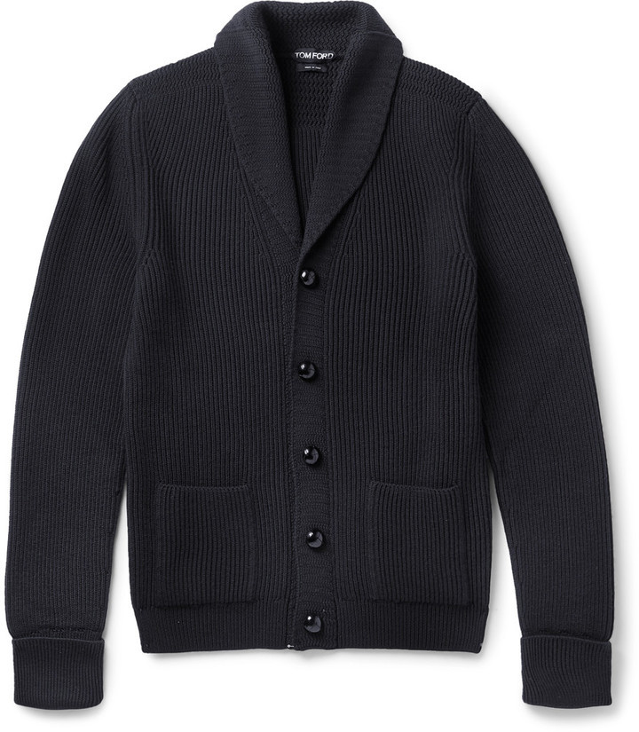 Tom Ford Shawl Collar Ribbed Merino Wool Cardigan | Where to buy ...