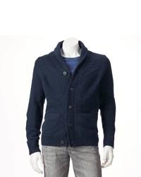 Sonoma Life Style Classic Fit Fairisle Wool Blend Shawl Collar Cardigan Sweater