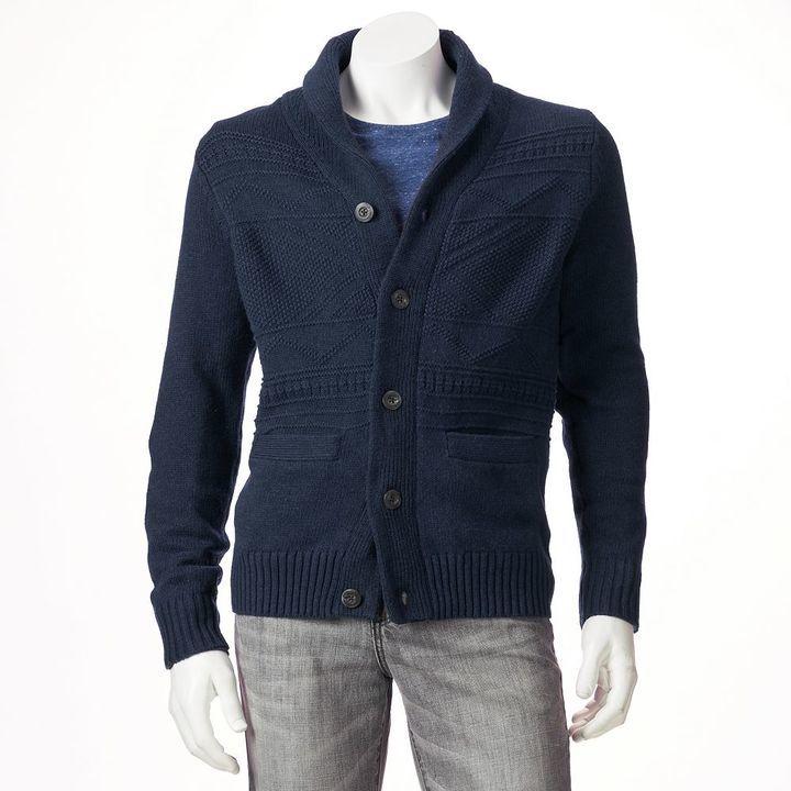 Sonoma Life Style Classic Fit Fairisle Wool Blend Shawl Collar ...
