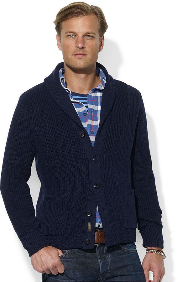 Polo Ralph Lauren Sweater Shawl Collar Carded Cotton Cardigan