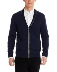Hugo Boss Swedilono Cotton Silk And Cashmere Cardigan With Faux Leather Trim
