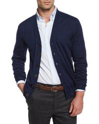 Brunello Cucinelli Wool Blend Button Cardigan Navy
