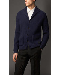 Burberry Wool Cashmere Shawl Collar Cardigan