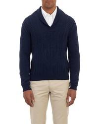 Barneys New York Shawl Collar Aran Sweater Blue