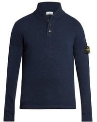 Stone Island Shawl Neck Wool Blend Sweater