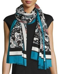 Burberry Beasts Leaves Cotton Shawl Light Blue