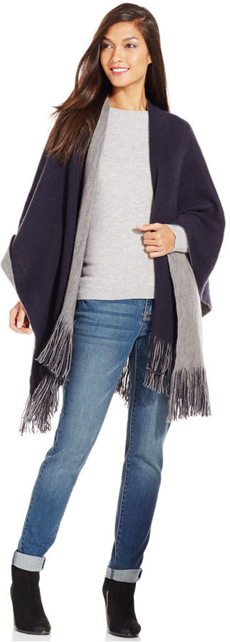 Cejon Brushed Colorblock Poncho