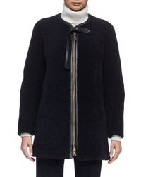 Chloé Chloe Iconic Aviator Zip Front Shearling Coat Navy