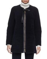 Chloe iconic aviator zip front shearling coat navy medium 694482