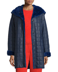 Escada Hooded Quilted Shearling Coat Bluebell
