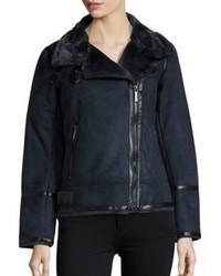 Michl kors faux fur lined moto jacket medium 5375598