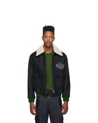 Kenzo Navy Melange Shearling Collar Blouson Jacket