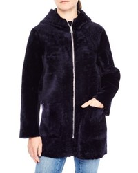 Sandro Zip Front Genuine Shearling Jacket