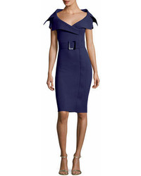 Chiara Boni La Petite Robe Aura V Neck Sheath Belt Cocktail Dress