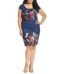 Adrianna Papell Magnolia Drape Front Sheath Dress
