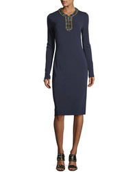 Tory Burch Sabina Long Sleeve Jersey Sheath Dress W Jeweled Trim