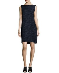 Eileen Fisher Sleeveless Crosshatch Shift Dress Midnight Petite