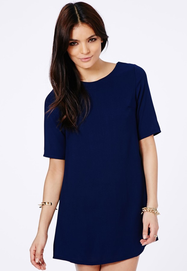 Missguided Ponika Swing Shift Dress In Navy | Where to buy & how ...