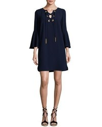 Trina Turk Xandra Bell Sleeve Corset Shift Dress Blue