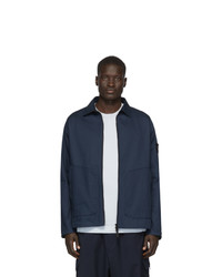 Stone Island Blue Zip Up Overshirt Jacket