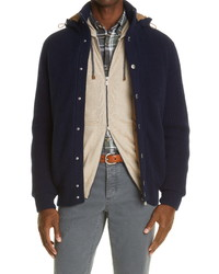 Brunello Cucinelli Cashmere Knit Down Hooded Bomber Jacket