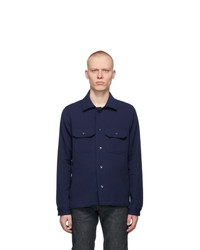 Naked and Famous Denim Navy Loose Weave Dobby Shirt