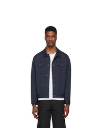 Harris Wharf London Navy Overshirt Jacket