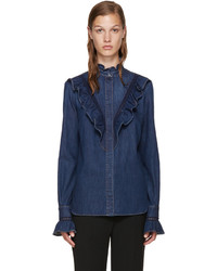 Stella McCartney Blue Denim Ruffled Shirt