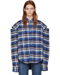 Vetements Blue Flannel Football Shoulder Shirt