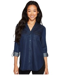 NYDJ Denim Shirt W Pockets Long Sleeve Button Up