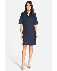 Nordstrom Collection Elbow Sleeve Cotton Poplin Shirtdress