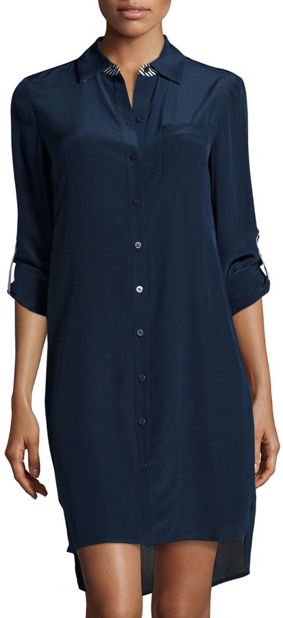 69a02b446d ... Shirtdresses Diane von Furstenberg Prita Silk Shirt Dress Admiral Navy  ...