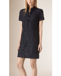 Burberry Short Sleeved Fil Coup Cotton Silk Shirt Dress