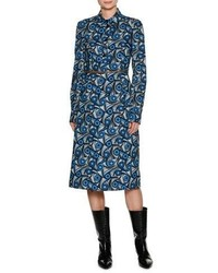 Marni Vertigo Belted Poplin Shirtdress Blue
