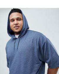 ASOS DESIGN Plus Oversized Hoodie With Short Sleeves In Dark Denim Marl