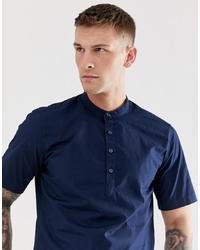 ONLY & SONS 12 Placket Short Sleeve Shirt With Grandad Collar