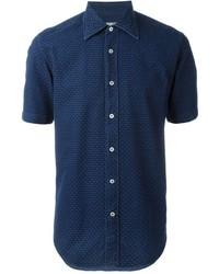 Canali Textured Short Sleeve Button Down Shirt