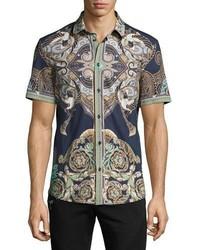 Versace Collection Baroque Short Sleeve Sport Shirt Navy