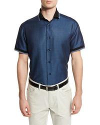 Brioni Geometric Print Short Sleeve Shirt With Contrast Trim Navy