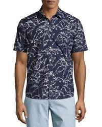 Michael Kors Michl Kors Palm Leaf Short Sleeve Sport Shirt Navy